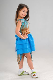 Free Little Girl In Blue Dress Royalty Free Stock Image - 5091996