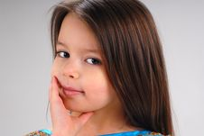 Free Little Girl With Brown Hair Royalty Free Stock Images - 5092299