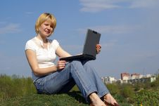 Free Woman Is Working With Notebook Stock Photos - 5093383