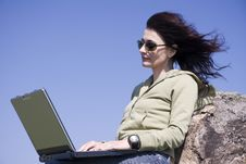 Free Woman With Laptop Royalty Free Stock Images - 5093659
