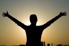 Free Girl Siluette On Sunset Stock Photos - 5093933
