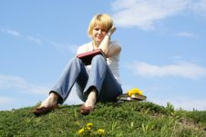 Free Female Student Outdoor On Green Grass Stock Image - 5094131