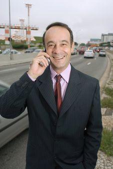 Free Businessman On Phone Stock Image - 5094451