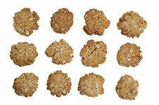 Free Oatmeal Cookies Isolated On White Stock Images - 5095244