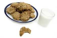 Oatmeal Cookies With Bite Taken Out Of It Stock Photo