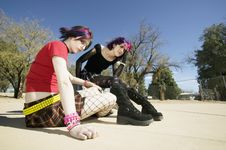 Free Two Punk Girls Royalty Free Stock Photography - 5096517