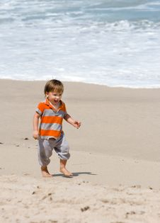 Free Toddler On Beach Stock Photography - 5097492