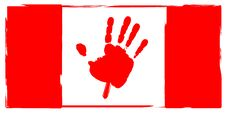 Canadian Flag Hand Print Maple Leaf Stock Images