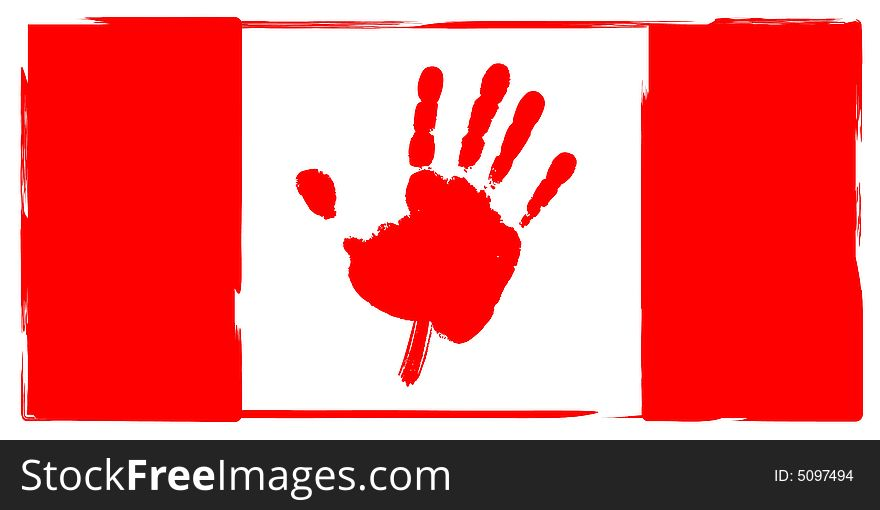 Canadian Flag Hand Print Maple Leaf Free Stock Images Photos