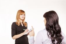 Free Business Woman Giving Instructions To Her Secretary In The Offic Royalty Free Stock Image - 50908606