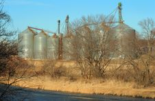 Grain Bins By The Big Blue Stock Photos