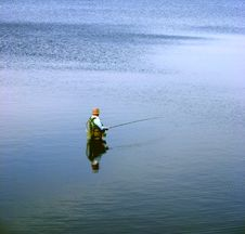 Free Lonely Angler Royalty Free Stock Photos - 512968