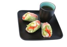 Free Japanese Salad Roll & Tea Stock Images - 513794