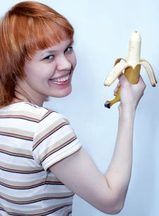 Free Girl With Banana Royalty Free Stock Image - 517086