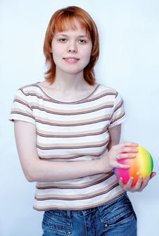 Free Girl With Ball Royalty Free Stock Photography - 517157