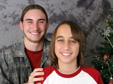 Brothers Christmas Portrait Stock Photo