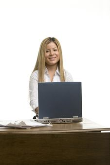 Free Pretty Girl At Her Desk Royalty Free Stock Image - 519116