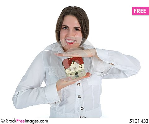 Free Business Woman Advertises Real Estate Stock Photos - 5101433