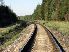 Free Railway Track In The Forest Stock Photos - 5100393