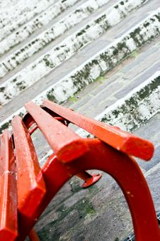 Red Seat And White Stairs Royalty Free Stock Image