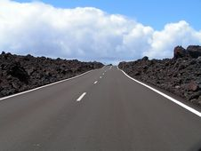 Free Road Through The Lava Rocks. Lanzarote Canary Stock Photos - 5101473
