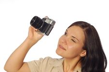 Free Woman With Old Camera Stock Photography - 5102932