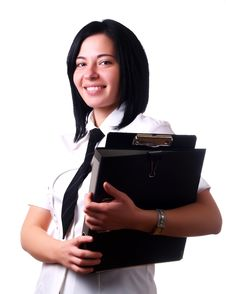 Free Businesswoman With Folders Stock Photos - 5103123