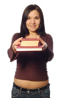 Free Woman With Books Royalty Free Stock Photography - 5103437