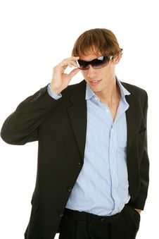 Free Young Businessman Removes Sunglasses Royalty Free Stock Images - 5105489