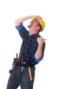 Free Construction Worker Tittering Royalty Free Stock Photography - 5106347