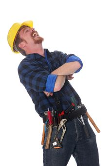Free Construction Worker Tittering Royalty Free Stock Photography - 5106457