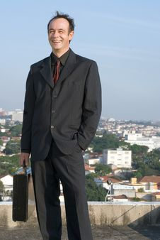 Businessman On Rooftop Royalty Free Stock Photo
