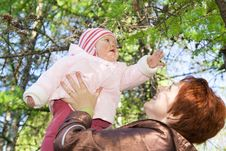 Free Baby With Mother In The Forest Royalty Free Stock Image - 5108116