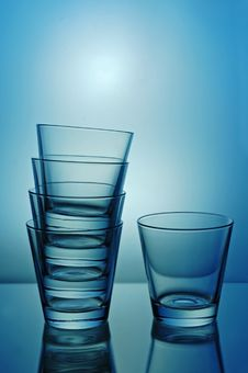 Free One And Stack Of Glasses Royalty Free Stock Image - 5108776
