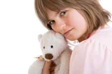 Free The Young Girl With A Teddy Bear Isolated Stock Image - 5108791
