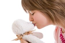 Free The Young Girl With A Teddy Bear Isolated Stock Images - 5108794