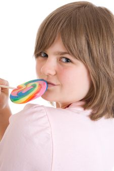 Free The Girl With A Sugar Candy Isolated On A White Stock Images - 5108824
