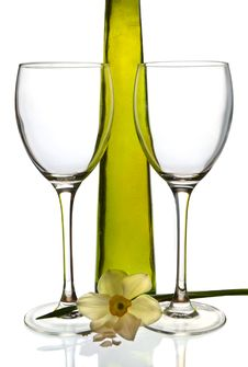 Wine Bottle And Empty Glasses Stock Images