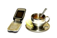 Free Telephone With Cup Of Tea Stock Photos - 5109183