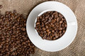 Free Cup With Freshly Roasted Coffee Beans On Sackcloth Royalty Free Stock Photo - 5115895