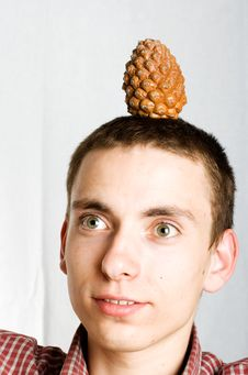 Surprised Man With Fir Cone Royalty Free Stock Photos