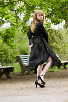 Free Model With Long Flying Hair In Park Stock Images - 5111064