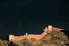 The Ancient Castle Wall In Sunset Royalty Free Stock Photography