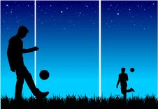 Free Footballers Playing Ball Royalty Free Stock Image - 5111716