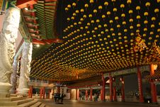 Chinese Temple With Small Yellow Latern Royalty Free Stock Image