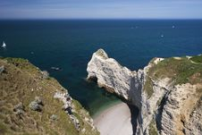 Cliffs Near Etretat, Normandy, France Stock Image