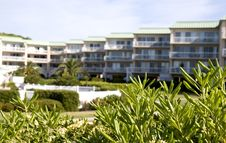 Free Condos Beyond Shrubs Royalty Free Stock Photography - 5113867