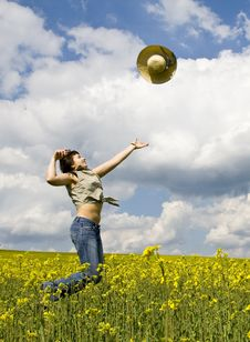 Free Young Girl In Summer Field Royalty Free Stock Photos - 5114018