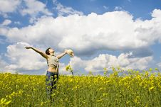 Free Young Girl In Summer Field Royalty Free Stock Photo - 5114195