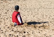 Free Child Playing At Beach Stock Images - 5114864